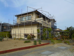 姫路市網干区の外壁塗装・屋根塗装リフォーム (施工中)